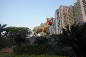 Another view of the Golden Bull in the park.