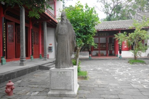 Around the Five Lords Ancestral Hall (五公祠). The stone statue of Li Deyu (李德裕) in the background.