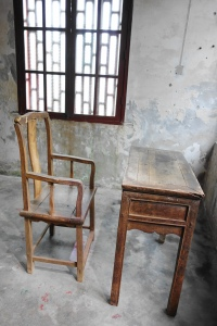 An ancient chair and study table