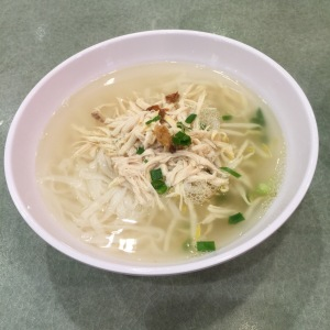 Hor Fun Soup with shredded chicken